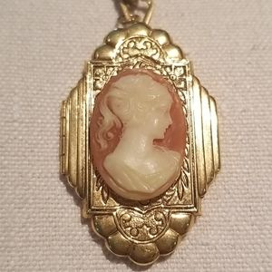 Vintage cameo locket necklace on goldtone chain